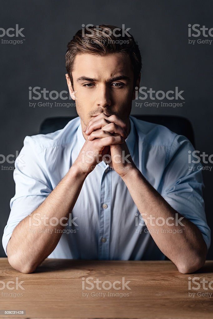 Searching for the right solution. stock photo