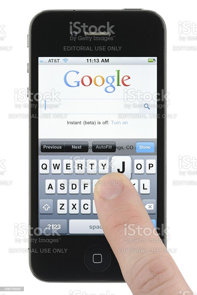 Searching Google on the iPhone royalty-free stock photo