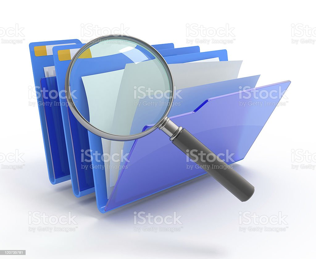 Searching in a folder. stock photo