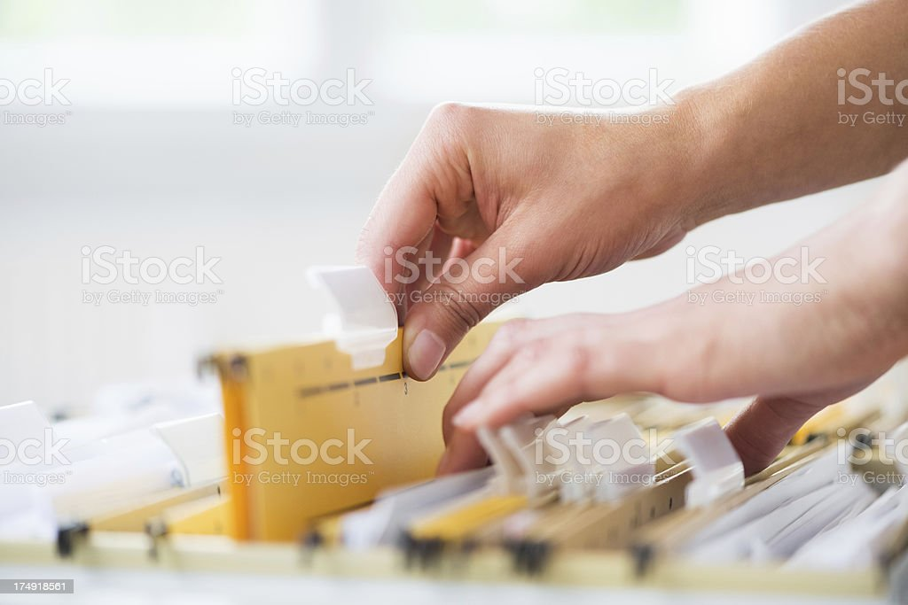 Searching In File Cabinet stock photo