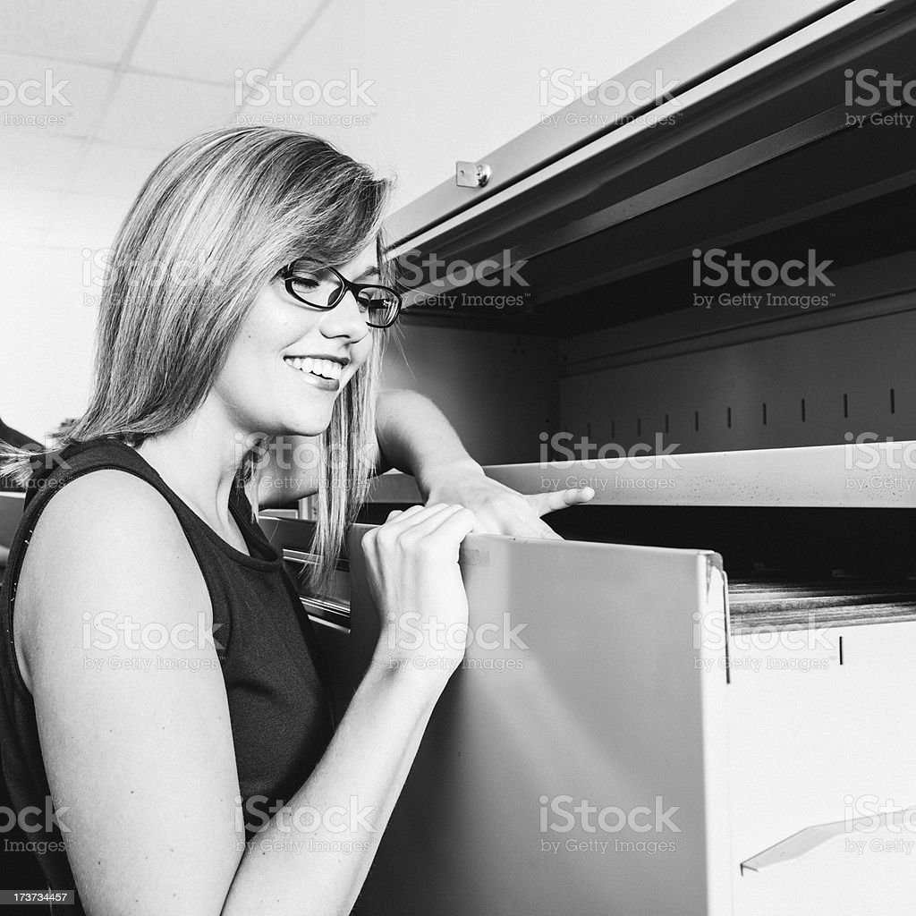 Searching in filing cabinets royalty-free stock photo