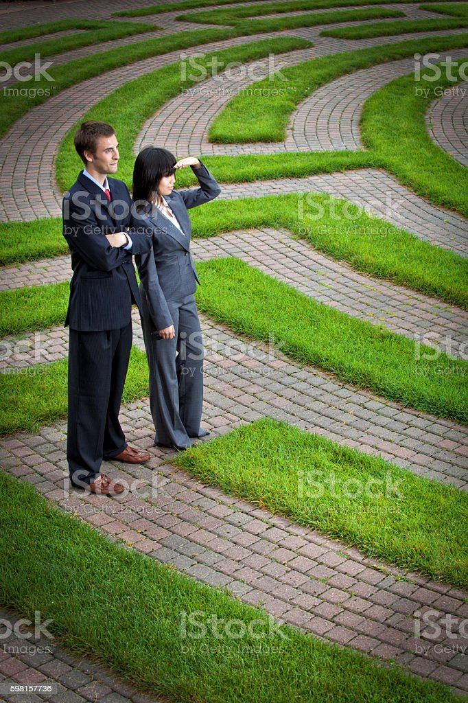 Searching Maze for Career Job, Business Corporate Future, Strategy Solutions stock photo