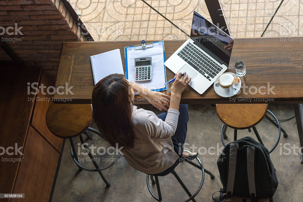Searching new information about the new project on the Internet stock photo