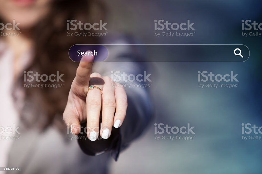 Searching on the internet. stock photo