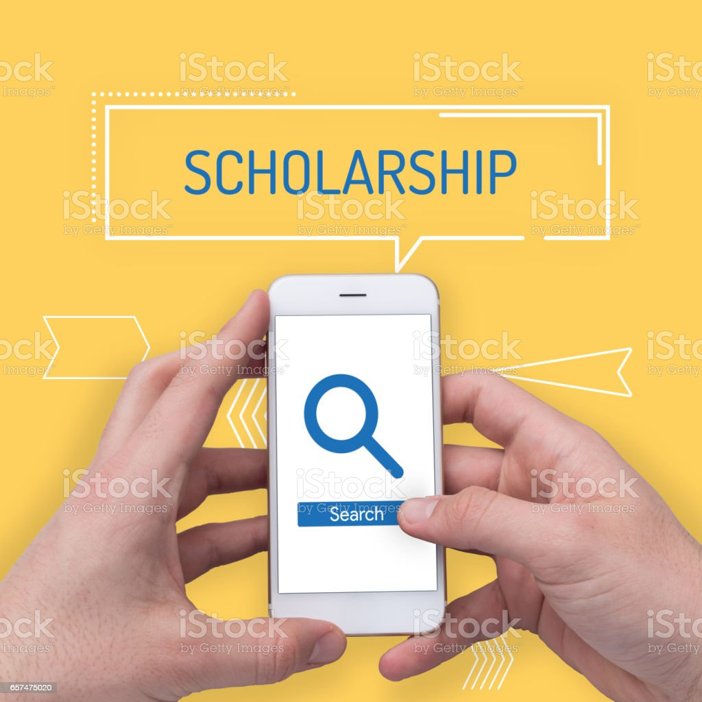 Searching Scholarship word on Search Engine stock photo