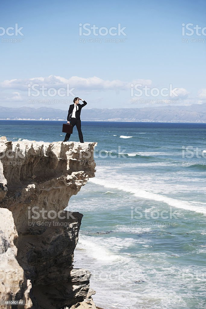 Searching the horizon for new possibilities stock photo