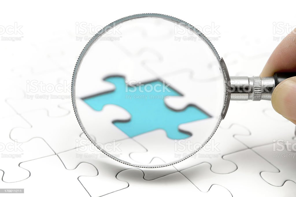 Searching the Missing Piece stock photo