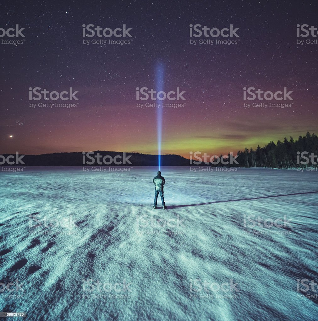 Searching the Northern Skies stock photo