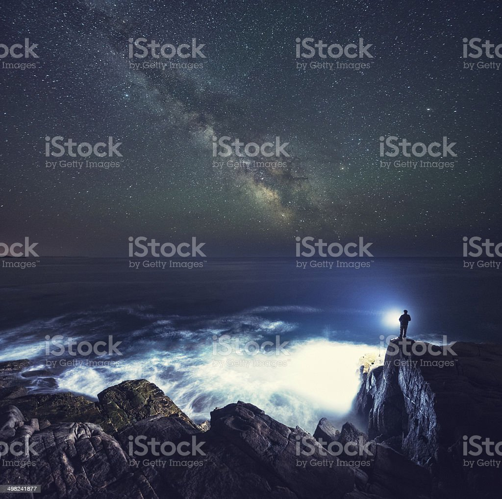 Searching the Stars stock photo