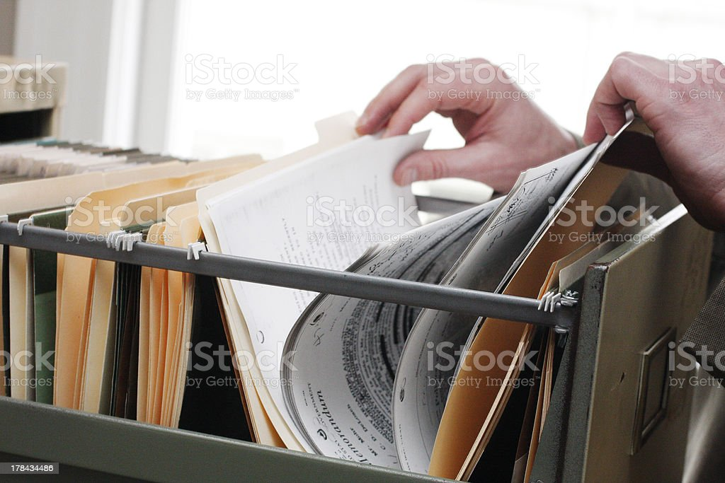 Searching through files stock photo