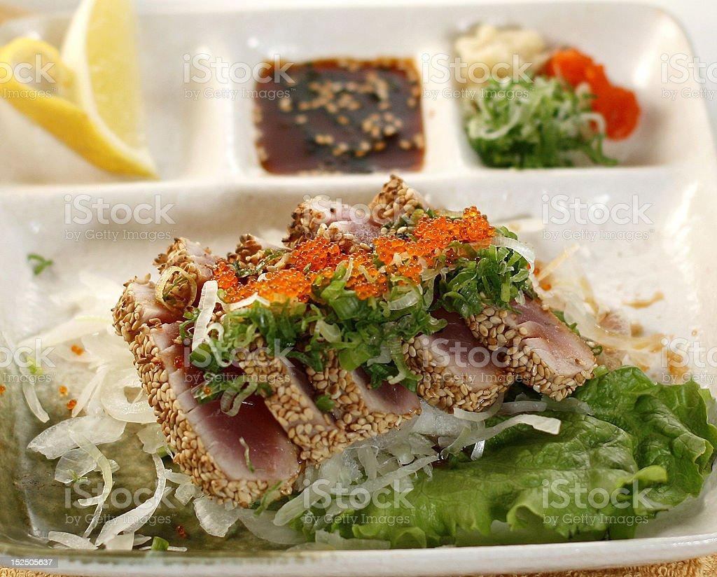 Seared Ahi Tuna with Salad royalty-free stock photo