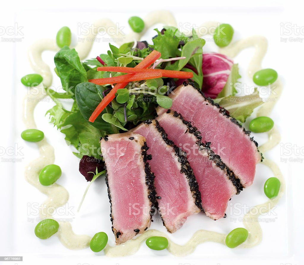 Seared Ahi Tuna with Salad royalty-free stock photo