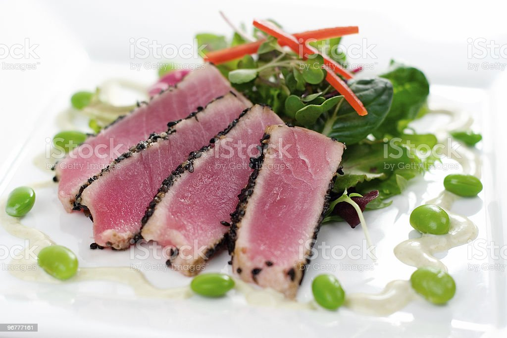 Seared Ahi with Microgreens royalty-free stock photo