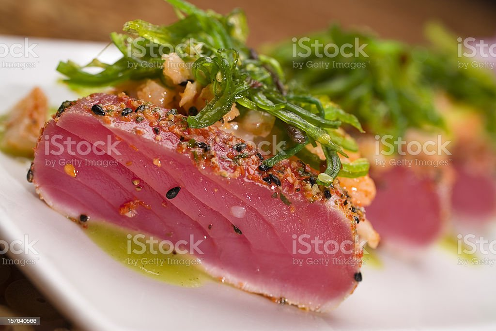Seared and Seasoned Ahi Tuna Salad stock photo