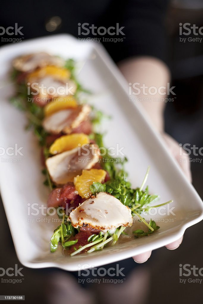 Seared and Seasoned Fish Salad royalty-free stock photo
