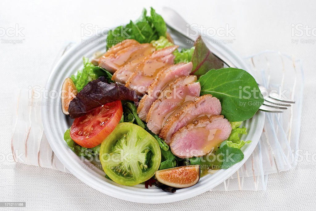 Seared Duck with Salad stock photo