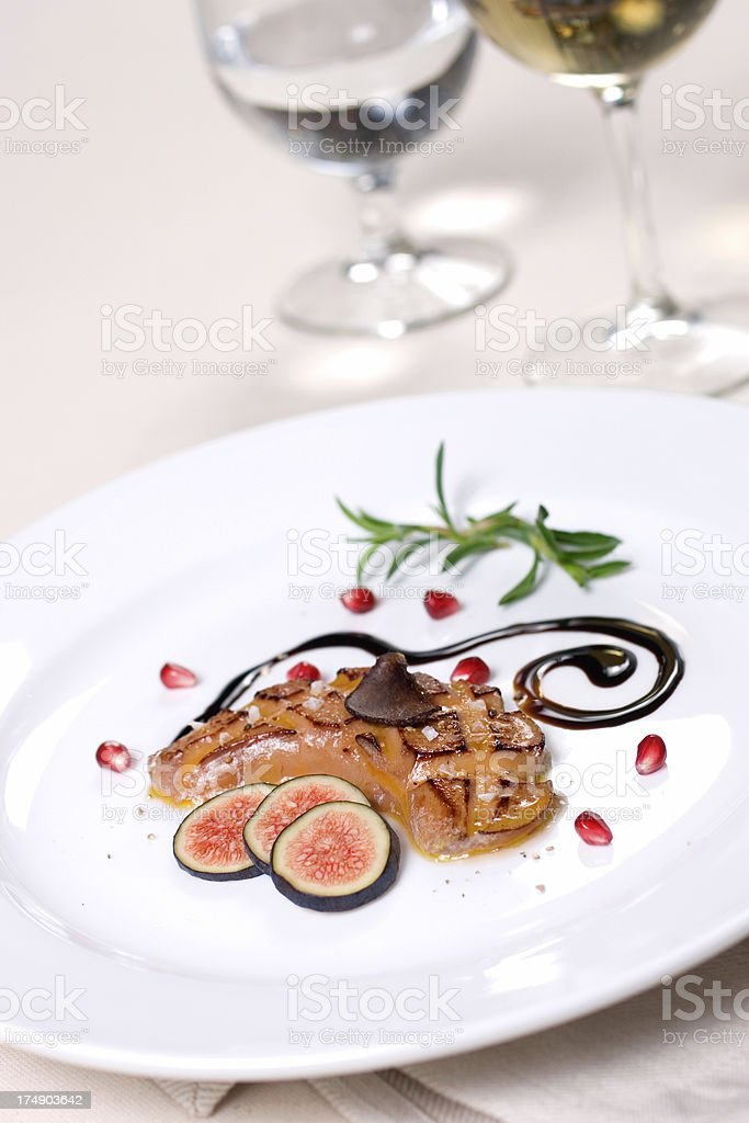 Seared Foie Gras Entree stock photo