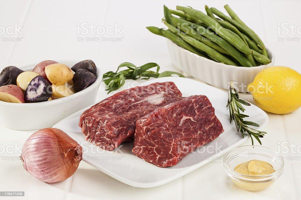 Seared Hanger Steak Dinner Ingredients royalty-free stock photo