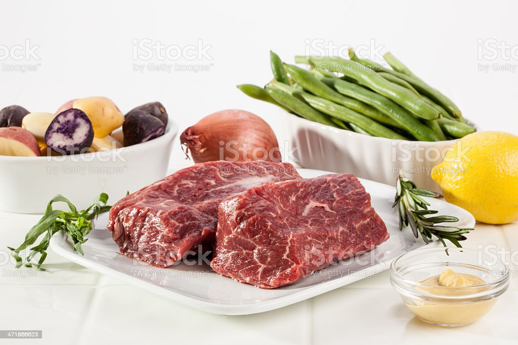 Seared Hanger Steak Dinner Ingredients stock photo