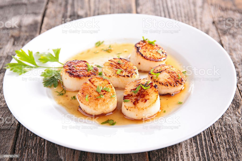 seared scallop stock photo