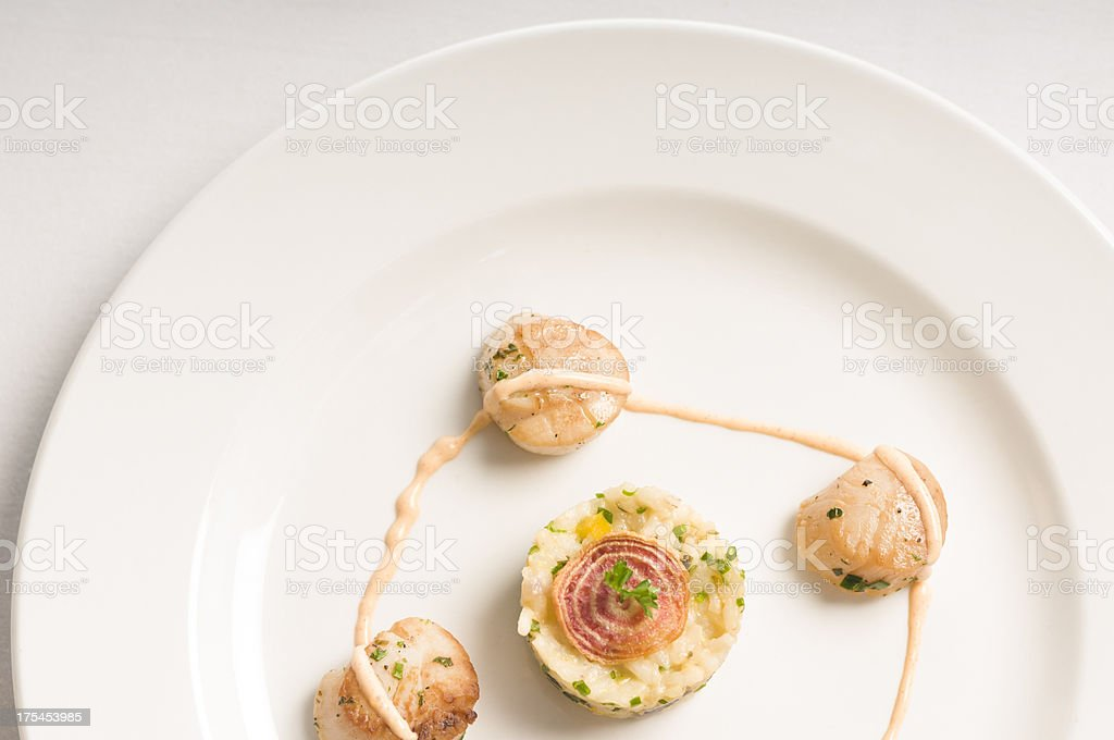 Seared Scallops and Risotto stock photo