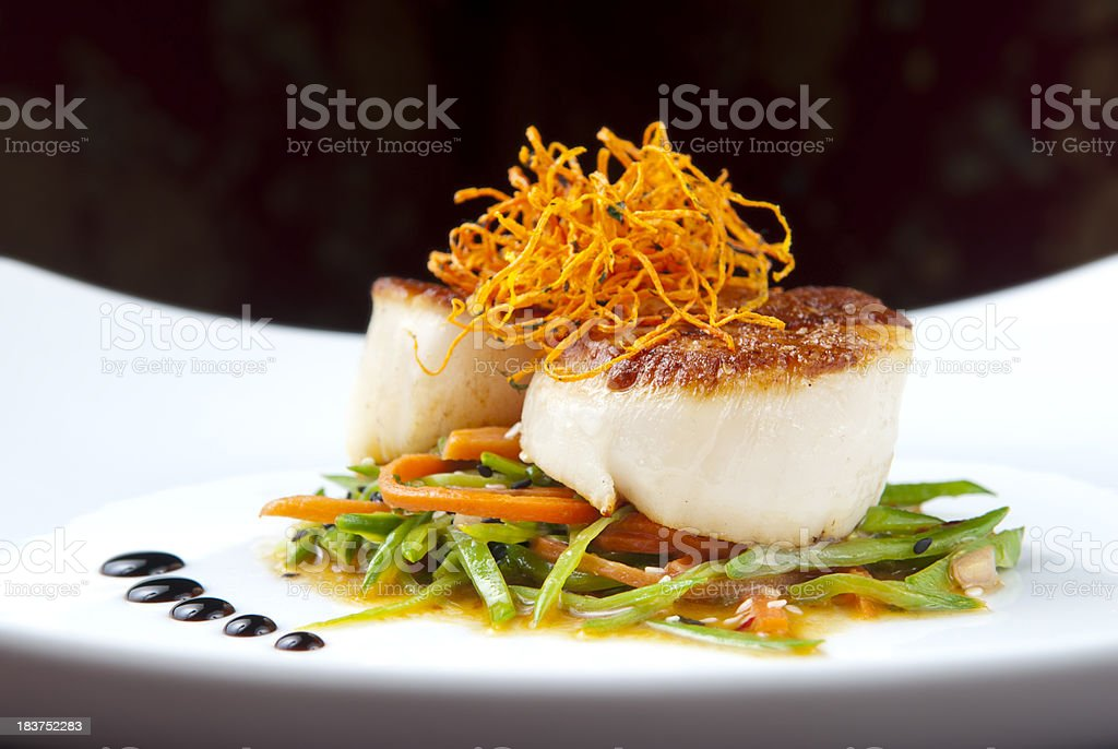 Seared Scallops royalty-free stock photo