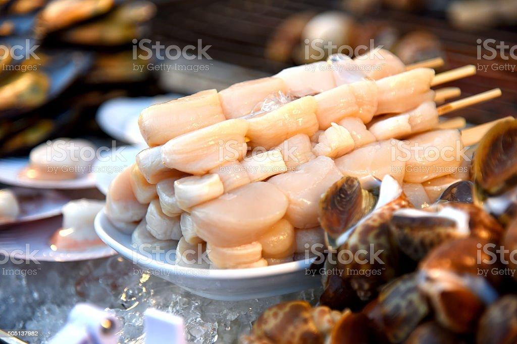 Poêlée de noix de Saint-Jacques photo libre de droits