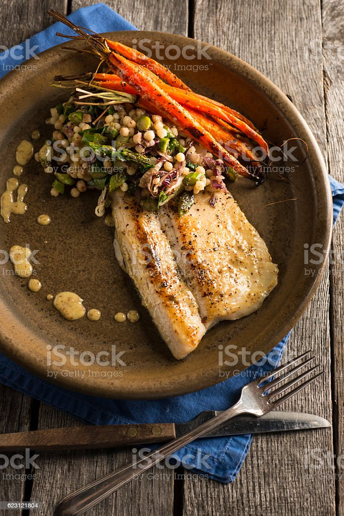 Seared Trout stock photo