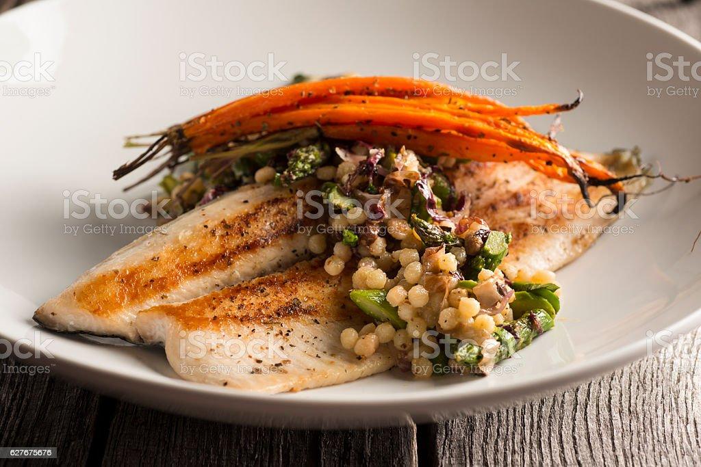 Seared Trout stock photo