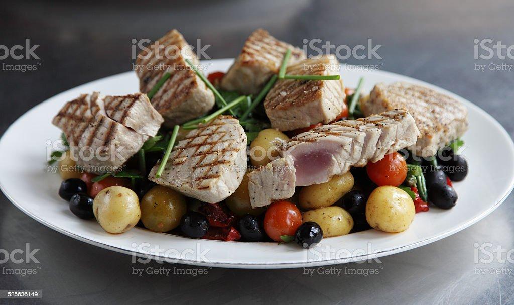 Seared tuna salad stock photo