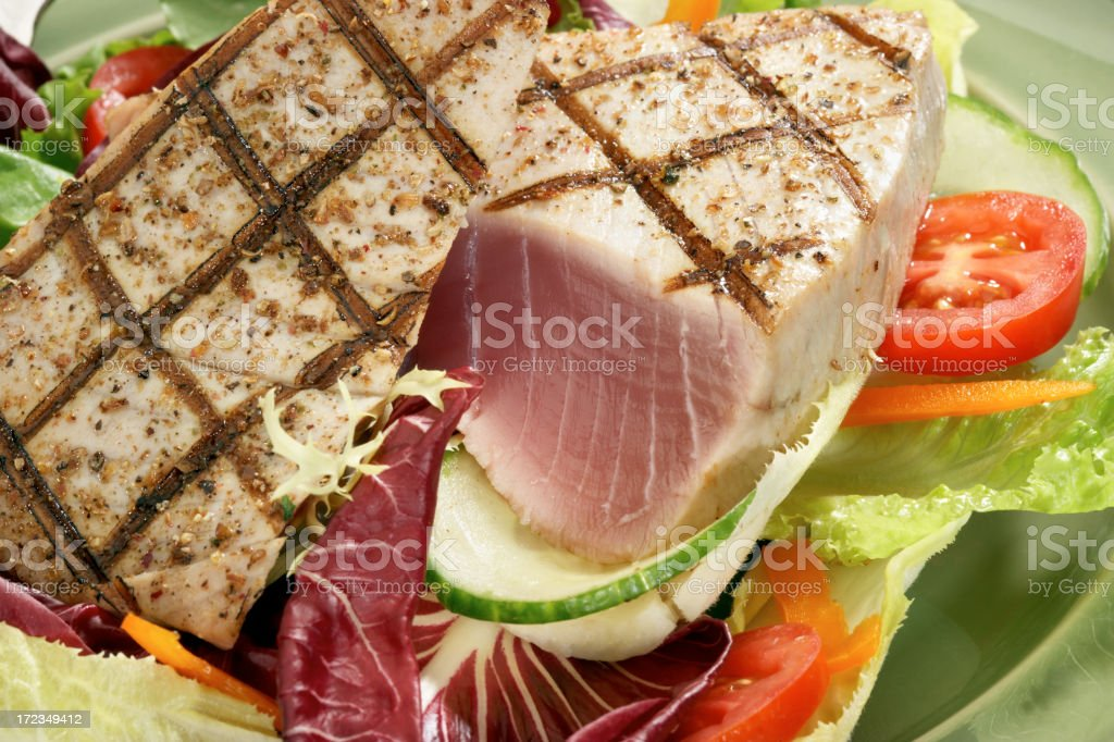 seared Tuna steak over salad royalty-free stock photo