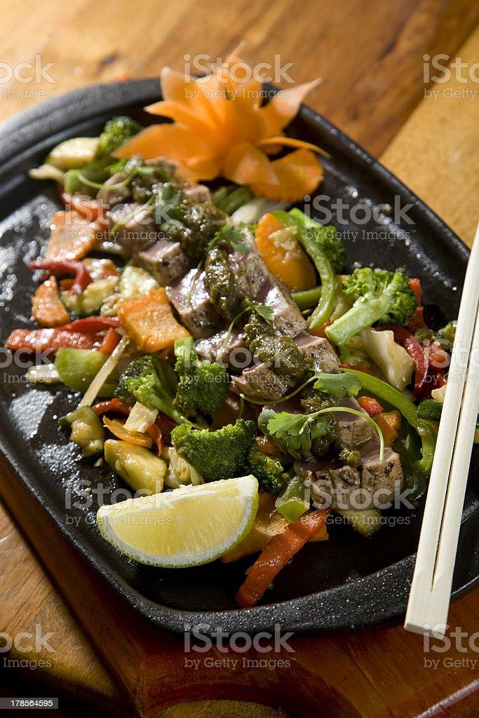 Seared Tuna Thai Food stock photo