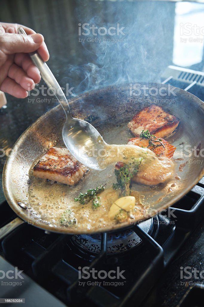 Searing Salmon royalty-free stock photo