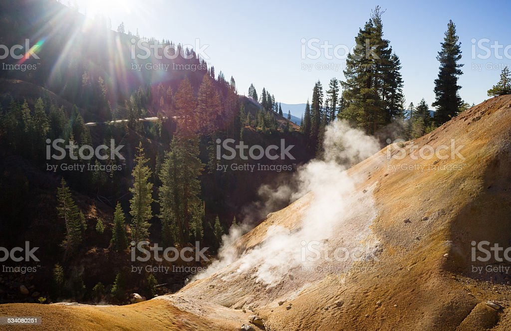 Searing Steaming Boiling Hot Thermal Pools Lassen Volcanic Area stock photo