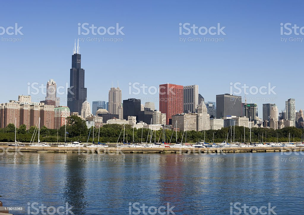 Sears Tower and Michigan Avenue Skyscrapers royalty-free stock photo