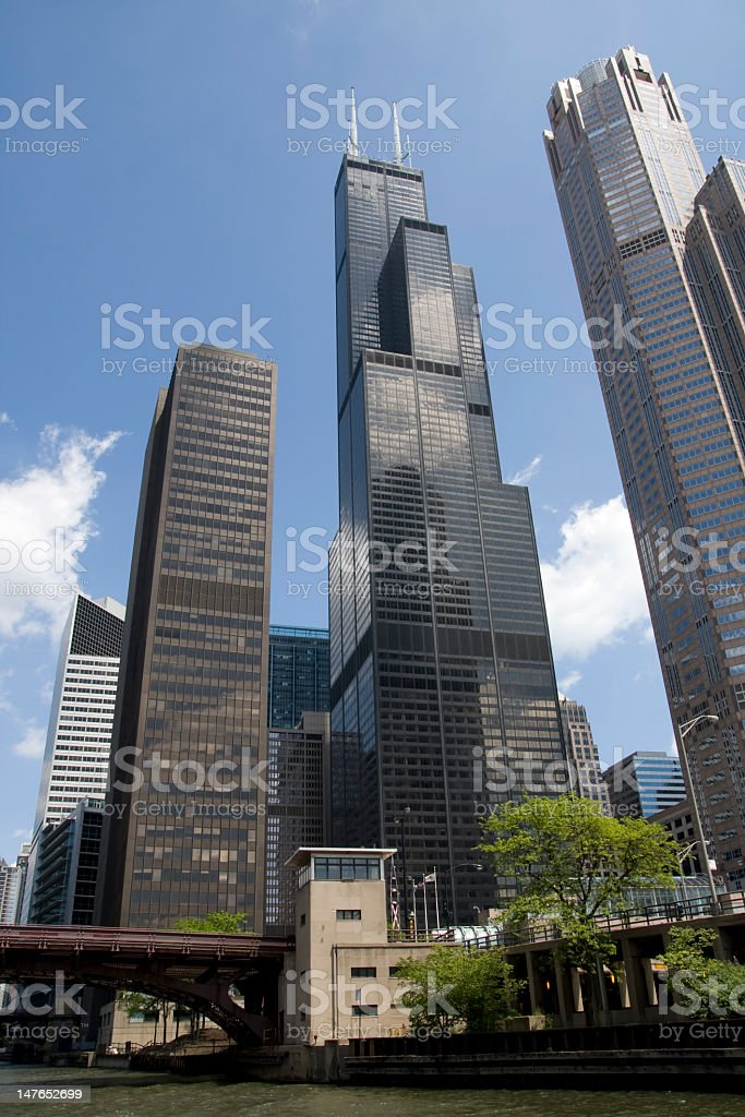 Sears Tower, Chicago (from the river) stock photo