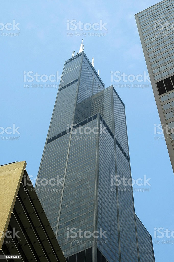 Sears tower from below stock photo