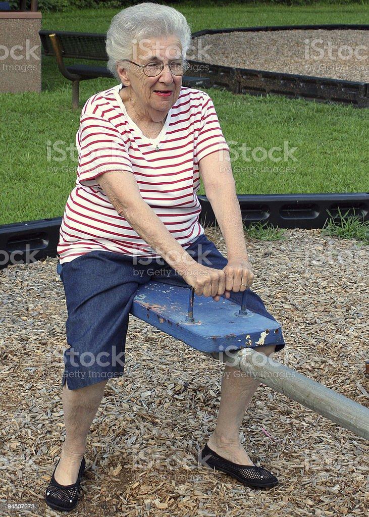 Seasaw Grandma 3 royalty-free stock photo