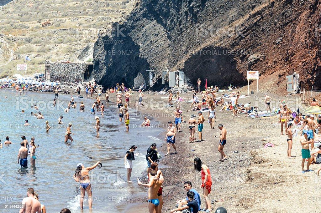 Seascape and beautiful Red Beach in Santorini, Greece stock photo