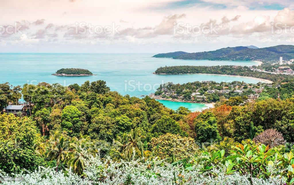 Seascape and cityscape on mountain and blue sea stock photo