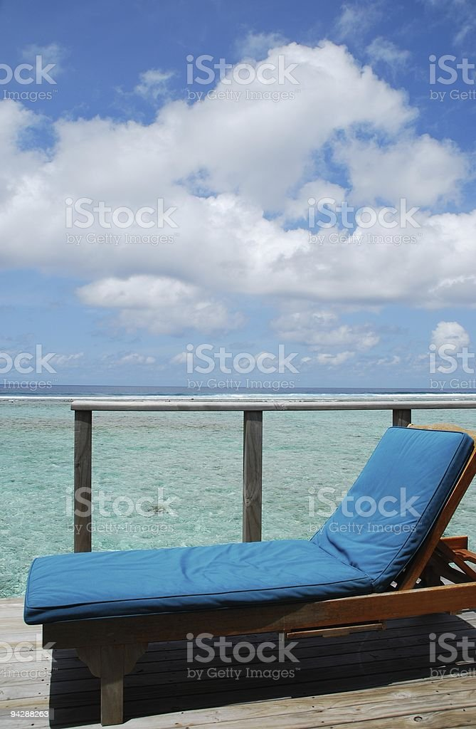 Seascape and clouscape from water villa in Maldives royalty-free stock photo