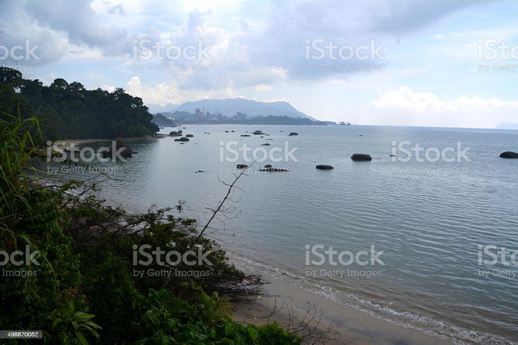 Seascape at Black Sand Beach, Pulau Langkawi stock photo