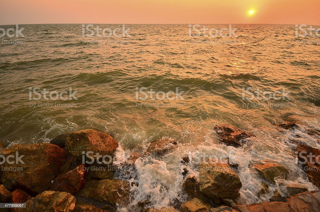 Seascape at Sunset Background royalty-free stock photo