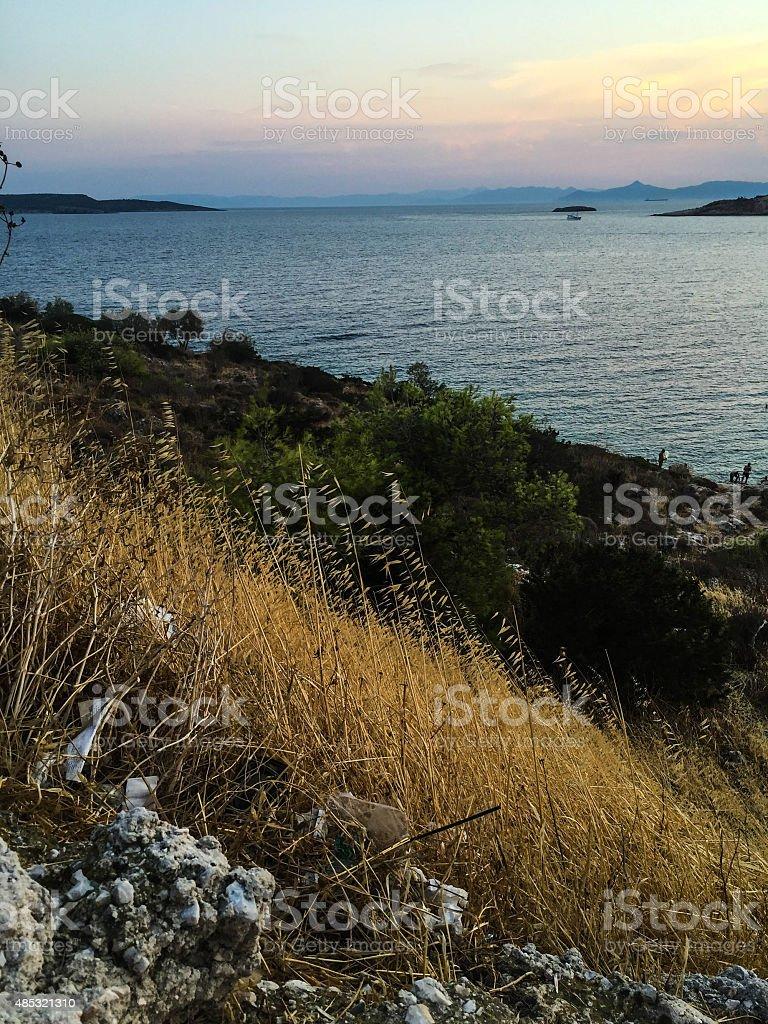 Paysage marin de coucher du soleil, Grèce photo libre de droits