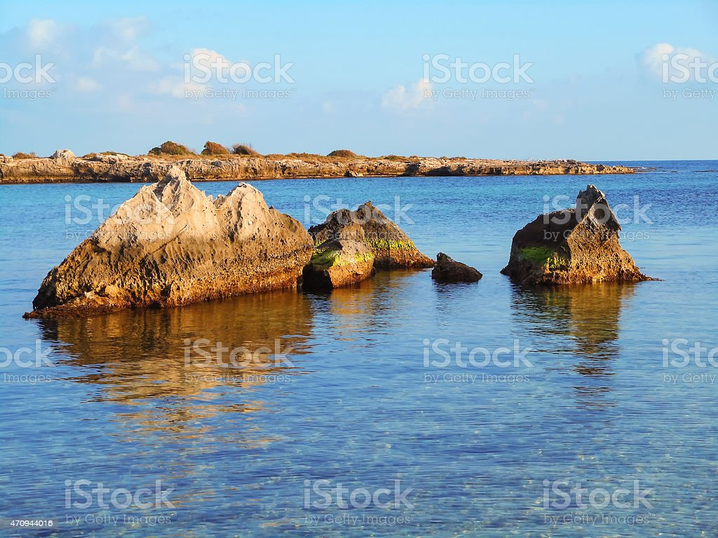Seascape at sunset off the coast of Southern Italy stock photo