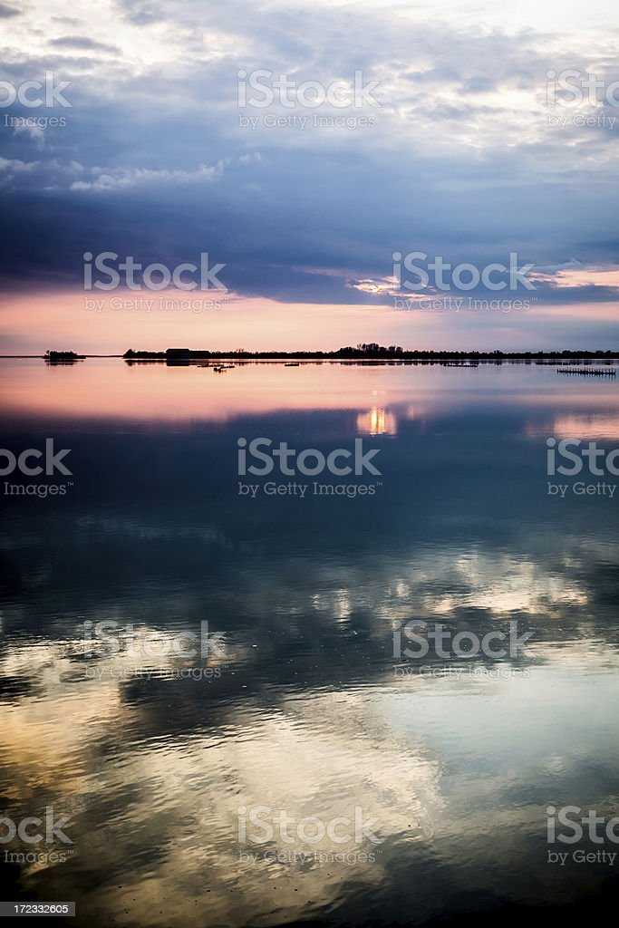 Seascape at sunset royalty-free stock photo