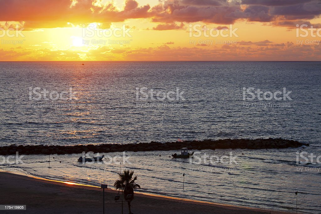 Seascape at sunset stock photo