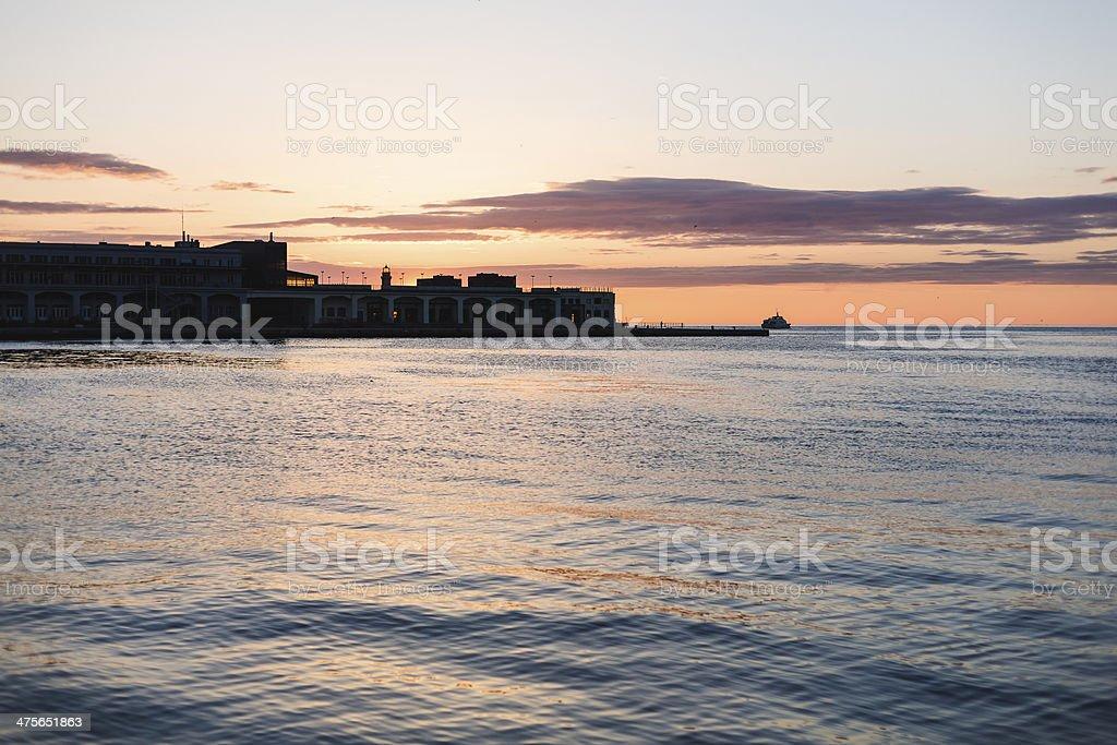 Seascape at sunset stock photo