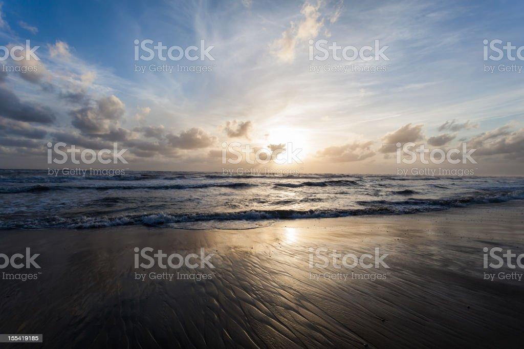 Seascape at Sunset, Tide stock photo