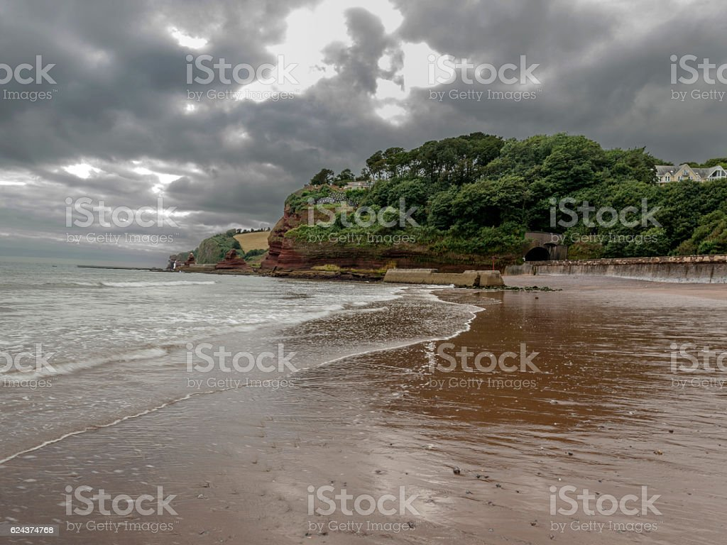 Seascape depicting storm clouds over SW Coast Path at Dawlish stock photo